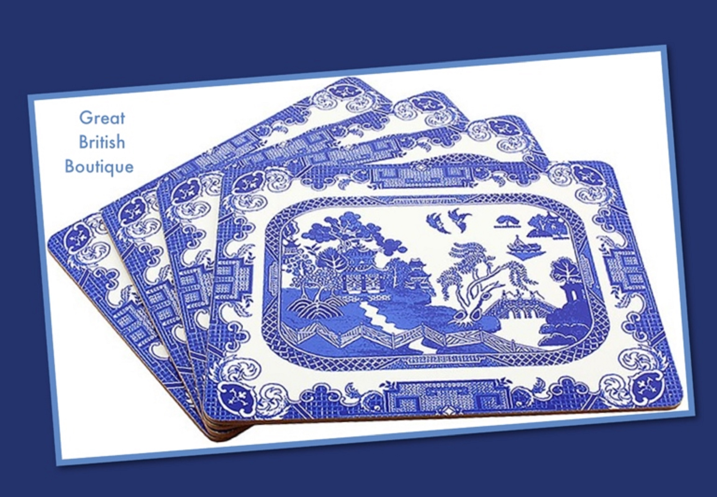 Classic blue willow pattern table mats set of 4 for Table mats design your own